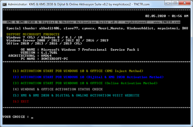 Screenshot KMS/2038 & Digital & Online Activation Suite 8.2