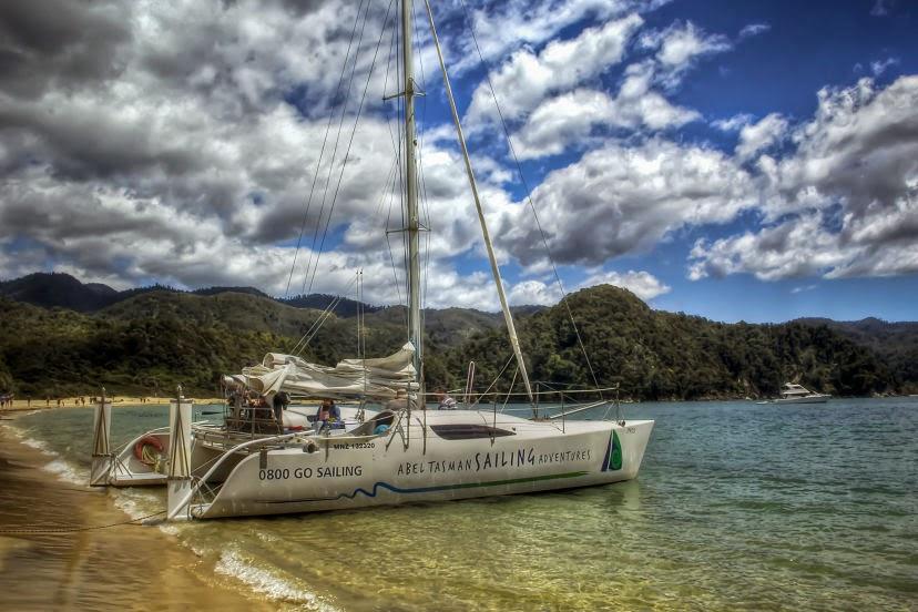Sailing at Abel Tasman National Park in New Zealand