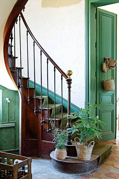 escalier bois chateau francais