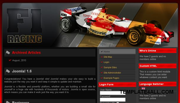 One Racing Red Black Drupal Theme Template