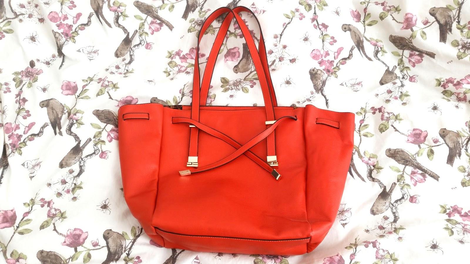 what's in my handbag blog, burnt orange bag, daily neccessities