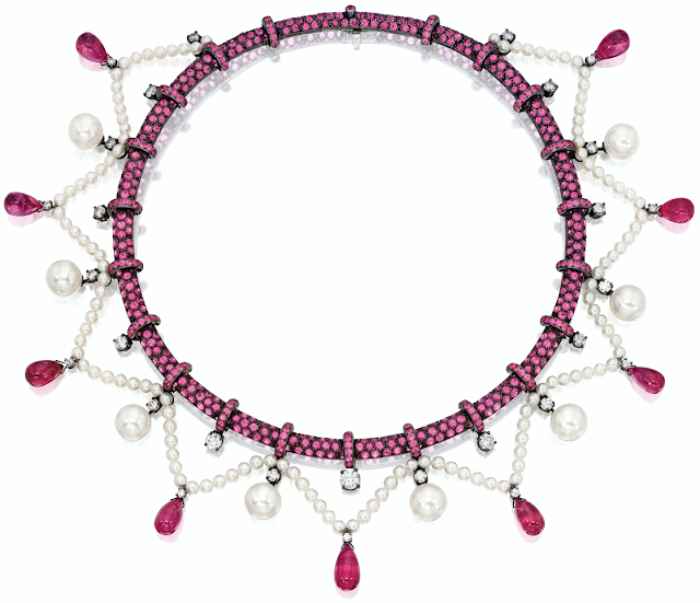 Boucheron pink sapphire, pink tourmaline, pearl, and diamond necklace.