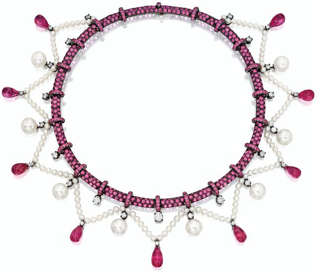 Boucheron pink sapphire, pink tourmaline, pearl, and diamond necklace.