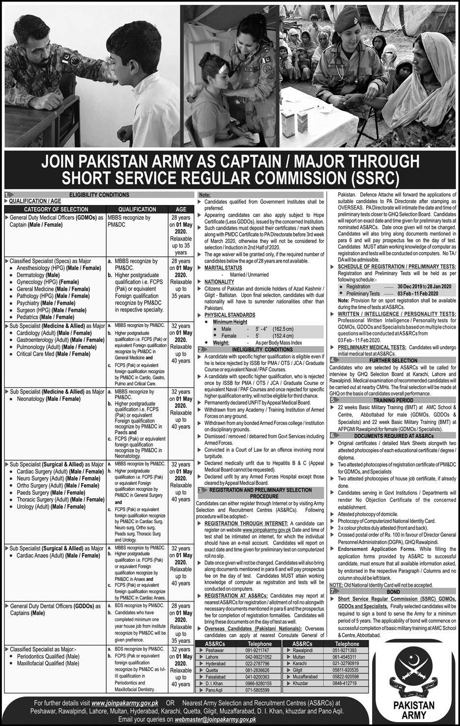 Join Pakistan Army As Captain & Major through SSRC 2020