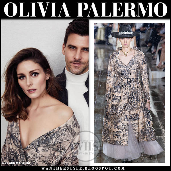 Olivia Palermo in toile de Jouy print dior resort trench coat with johannes huebl claur magazine style