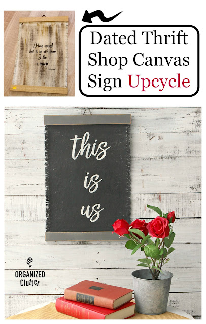Dated Thrift Shop Canvas/Wood Sign Up-cycle #thriftshopmakeover #upcycle #stencil