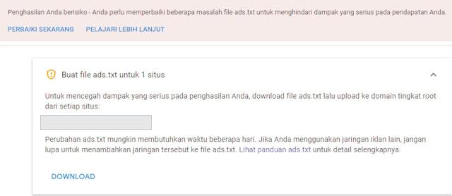Cara Mengatasi Ads.txt Adsense Terbaru 2019