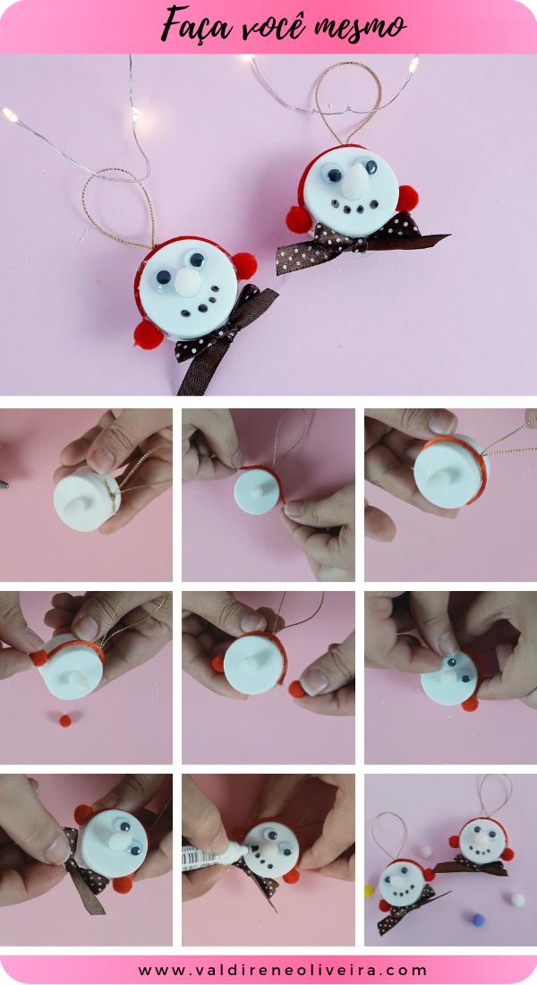 faça você mesmo boneco de neve com fone de ouvido