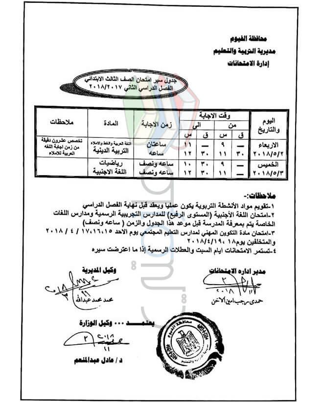 جدول امتحانات الصف الثالث الابتدائي 2018 الترم الثاني محافظة الفيوم