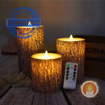 Bộ đèn sáp điện tử tạo hình khúc gỗ điều khiển từ xa