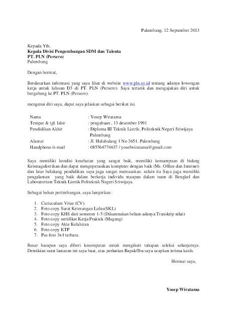 Contoh surat lamaran ke perusahaan BUMN/BUMD