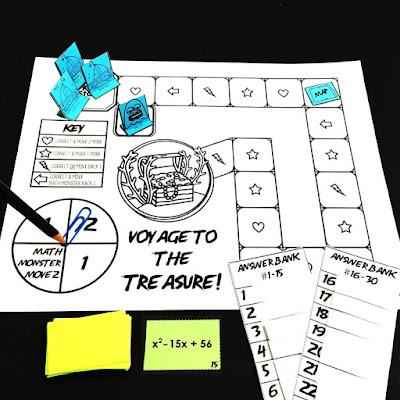 Voyage to the Treasure factoring quadratic trinomials game