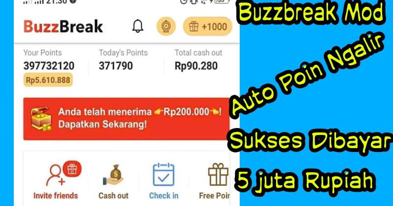 Download Buzzbreak Mod Apk Terbaru 2020 Sukses Dibayar 5 Juta Rupiah Gratis Pulsa Mod
