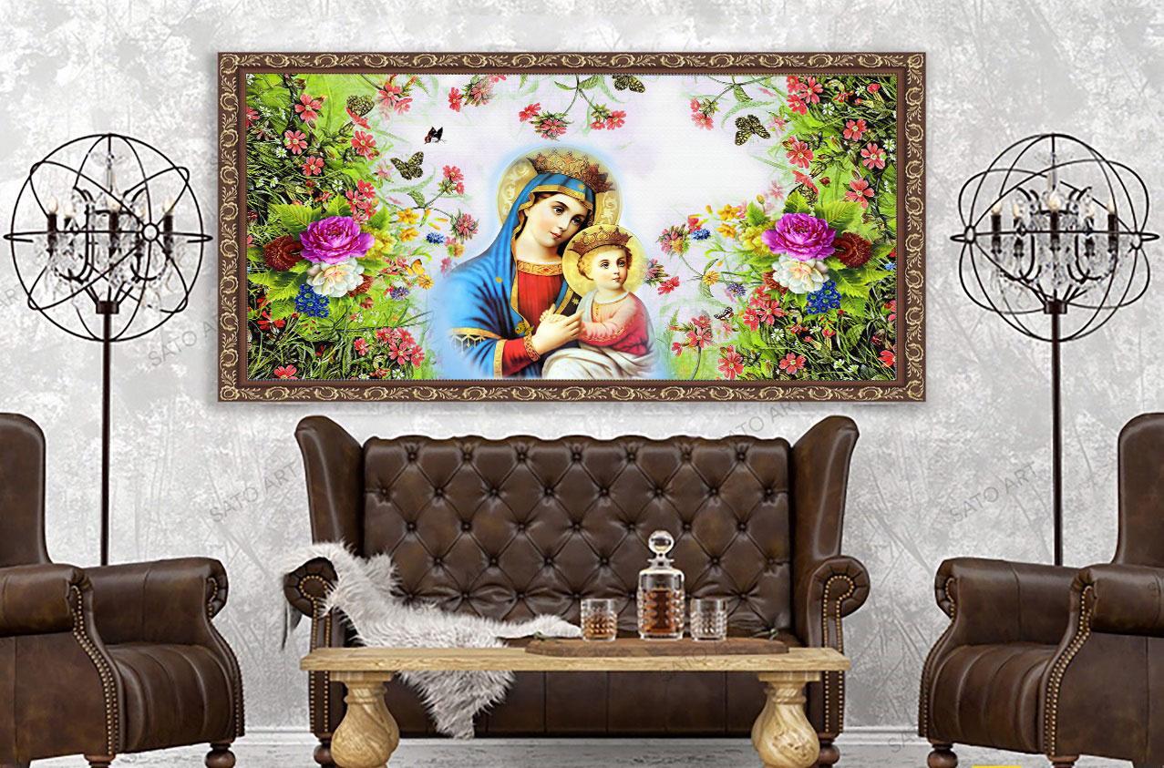 Tranh Treo Tường Đức Mẹ Maria Bồng Con