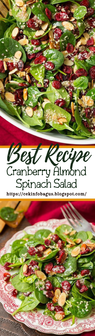 Cranberry Almond Spinach Salad #vegan #vegetarian #soup #breakfast #lunch