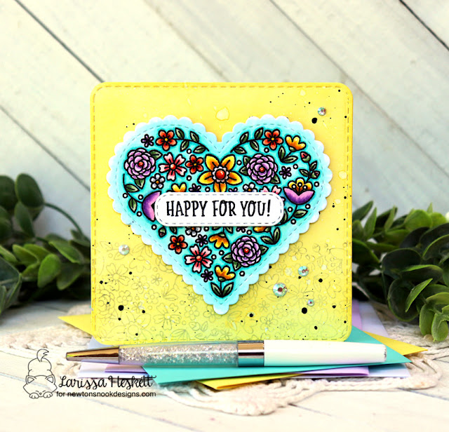 Happy for You Card by Larissa Heskett | Heartfelt Blooms Stamp Set, Heart Frames Die Set, Banner Trio Die Set and Frames Squared Die Set by Newton's Nook Designs #newtonsnook #handmade
