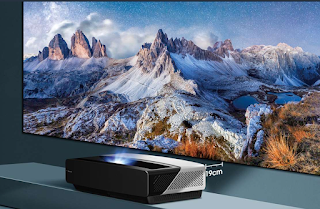High definition mountains on screen from projector