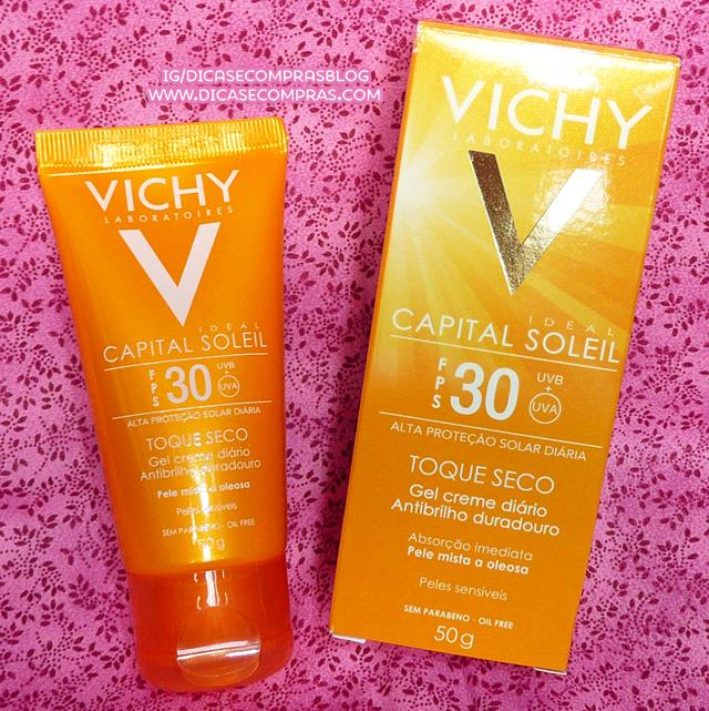 Protetor solar Vichy Capital Soleil fps30 toque seco resenha gel creme diário pele oleosa a mista