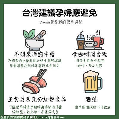 台灣營養師Vivian【圖解營養學】台灣與美國政府給孕媽咪的「忌食」建議
