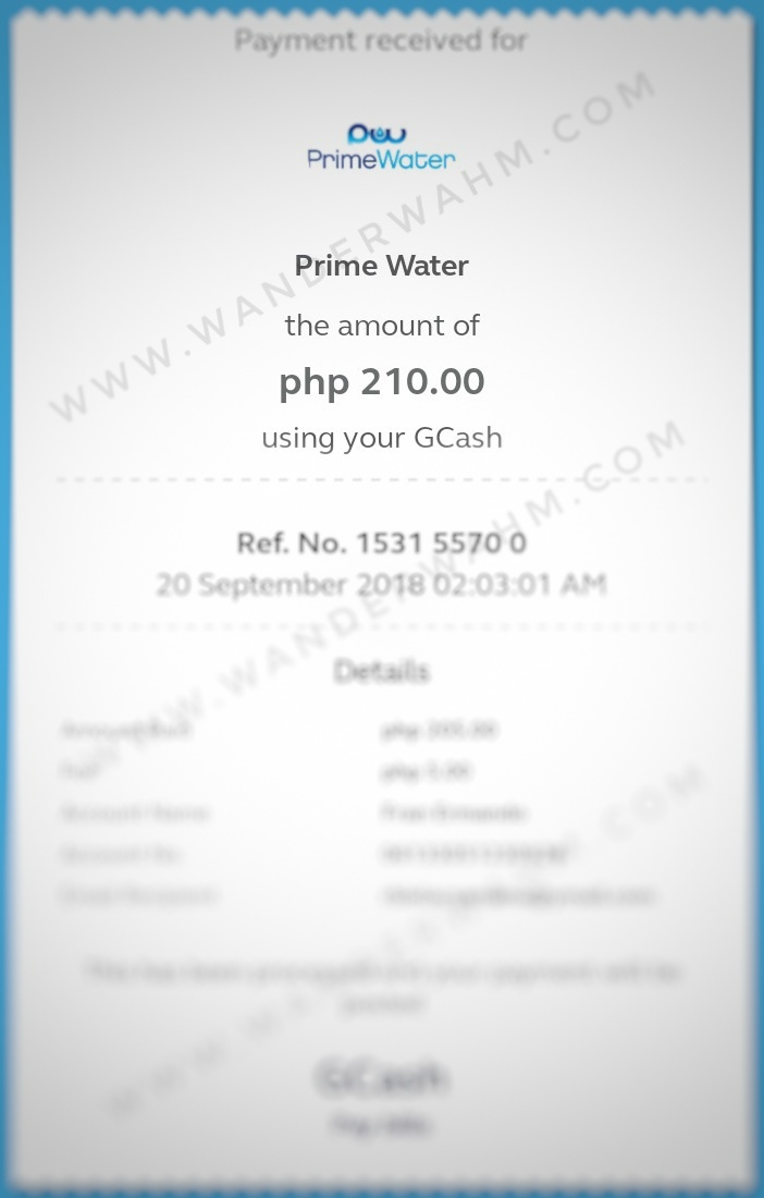 Primewater Batangas Bills Payment thru GCash - wanderwahm