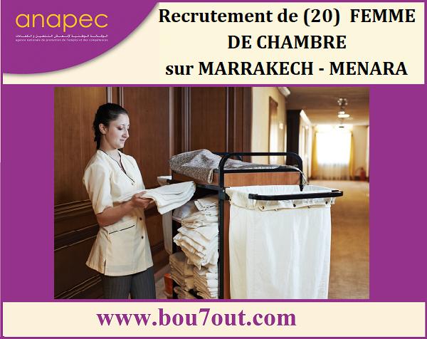 Recrutement de (20)  FEMME DE CHAMBRE  sur MARRAKECH - MENARA