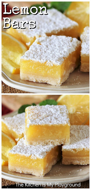 Lemon Bars ~ The classic lemon lover's treat! Tart & sweet at the same time, loaded with luscious lemon filling & flavor -- truly what's not to love? And believe it or not, these lemon beauties are easy to make, too.  www.thekitchenismyplayground.com