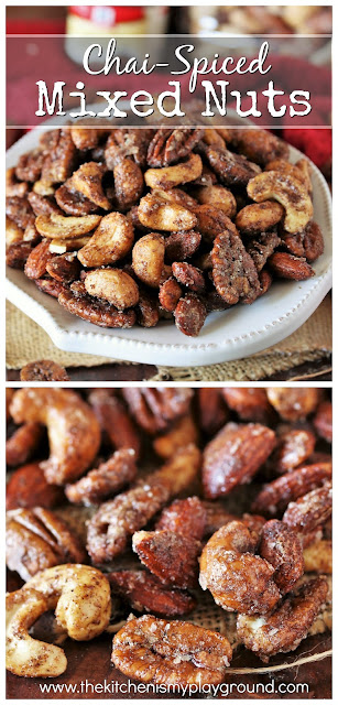 Chai-Spiced Mixed Nuts ~ These little nibbles pack all the wonderful flavors of chai in a tasty grab-by-the-handful bite. Perfect for parties, game day, or everyday snacking!  www.thekitchenismyplayground.com