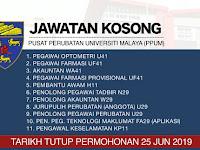 Jawatan Kosong Pusat Perubatan Universiti Malaya (PPUM) | Tarikh Tutup: 25 Jun 2019
