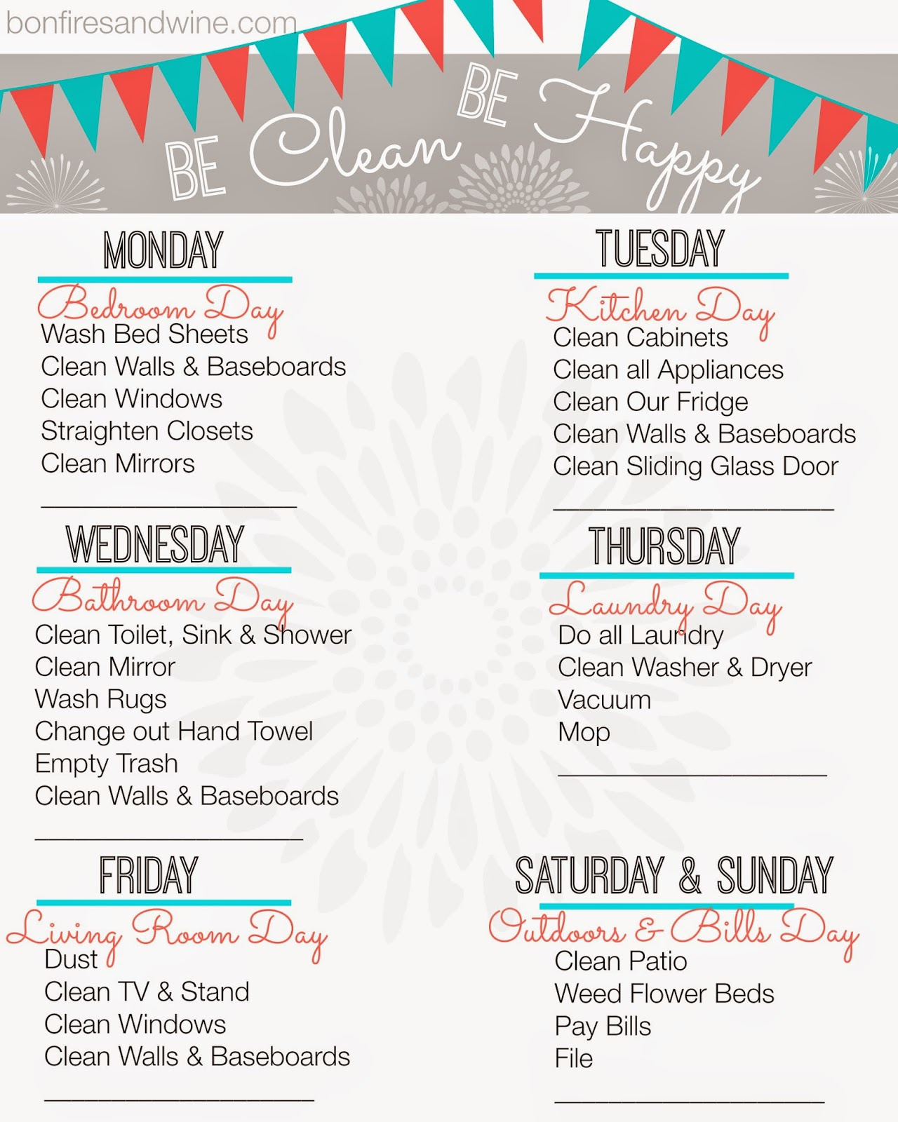 Bonfires And Wine Weekly Cleaning Schedule Free Printable