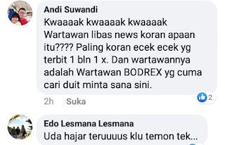 """Profesi Wartawan di Hina, Pimred Media Libas News Akan Polisikan Akun Facebook """"ANDI SUWANDI"""""""