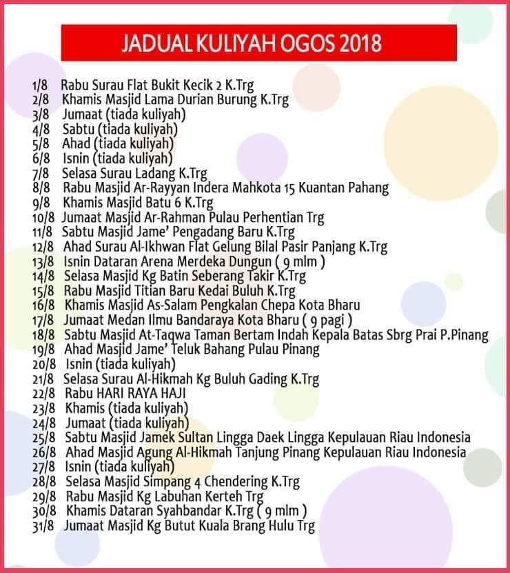 jadual kuliah ustaz azhar idrus Ogos 2018
