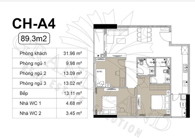 Thiết kế căn hộ 3 phòng ngủ, 89m2 tại chung cư Harmony Square