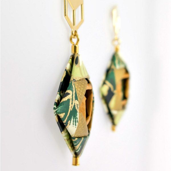 side view of two folded paper earring squares