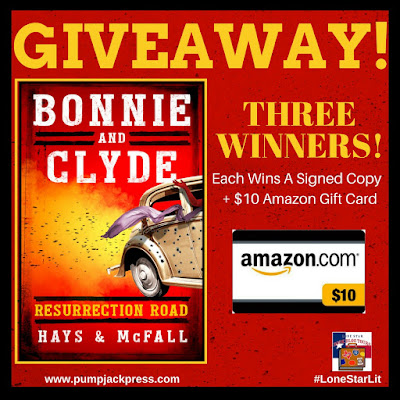 Giveaway banner, indicating each of the three winners will receive a signed copy of the book and a $10 Amazon Gift Card