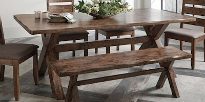 real wood dining set with bench