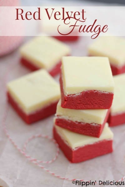 Red Velvet Fudge from Flippin Delicious