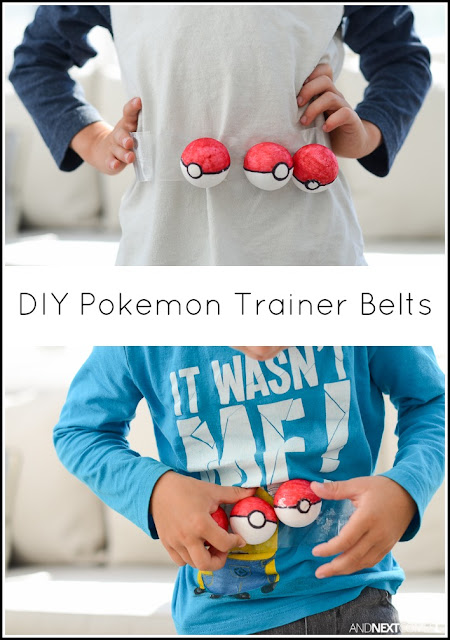 Easy homemade Pokemon trainer belts for kids to hold their DIY pokeballs from And Next Comes L