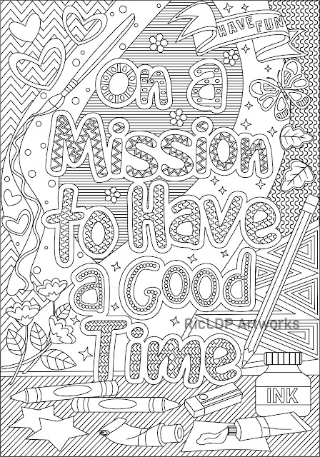on a mission to have a good time coloring page