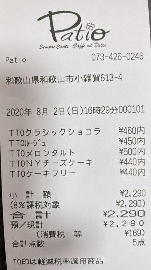 パティオ センプレコンテ 2020/8/2 のレシート