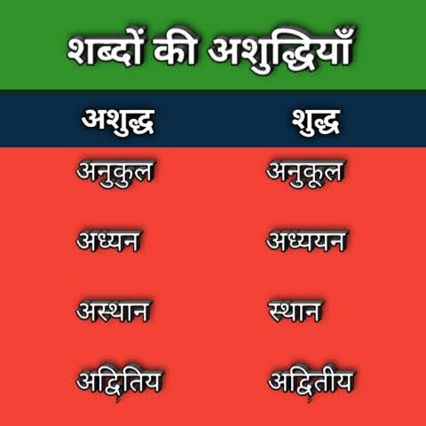 शब्दों की अशुद्धियाँ (Shbdo ki ashudhiya) - hindi grammar