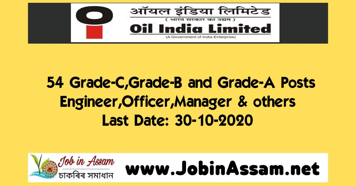 Oil India Limited Recruitment 2020 : Apply For 54 Grade-C,Grade-B and Grade-A Posts. Last Date: 30-10-2020