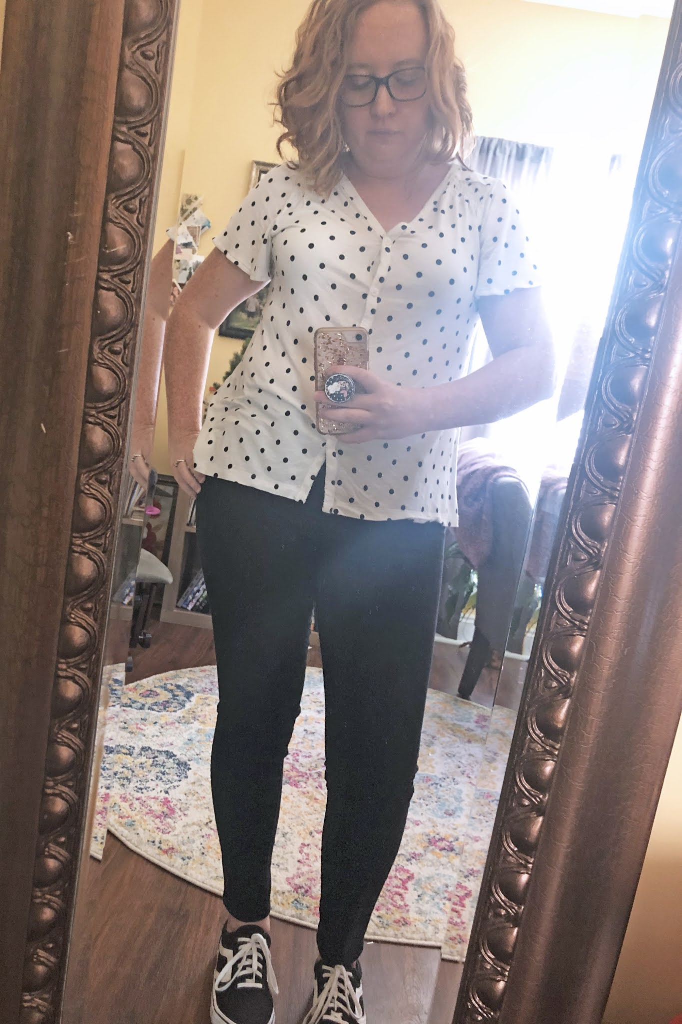 polka dot shirt black jeans