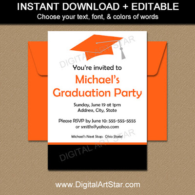 Editable graduation invitation template printable in orange & black