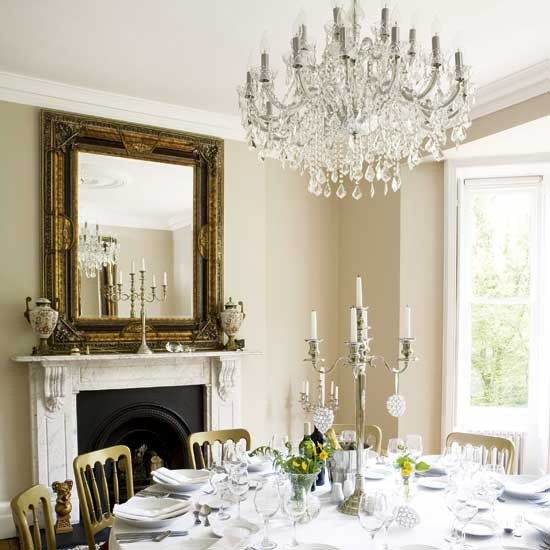 Elegant Dining Room Chandeliers: New Home Interior Design: Traditional Dining Room