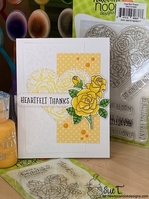 Heartfelt Thanks by Sue features Heartfelt Roses, Roses, and Heart Frames by Newton's Nook Designs; #inkypaws, #newtonsnook, #thankyoucards, #cardmaking