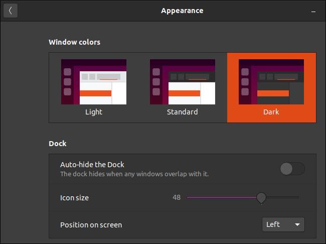 نافذة مظهر Ubuntu مع اختيار سمة Yaru المظلمة.