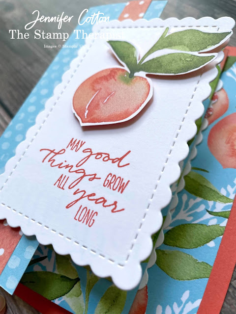 Peach Fan Fare card using Stampin' Up!'s You're a Peach Designer Series Paper (DSP).  The bundle is Dragonfly Wishes.   Select designer papers are 15% off through Aug 2, 2021.  www.StampTherapist.com #StampinUp #StampTherapist #DragonflyWishes