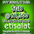 Low-Cost Data Bundle - Get Etisalat 5GB Data For Just N1,500 or 10GB For N2,500 With 30 Days Validity click and see