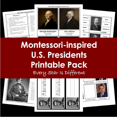 Montessori-inspired U.S. Presidents Printable Pack