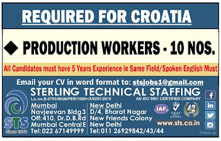 Production Workers for Croatia - Europe